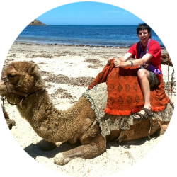 Brenton enjoying camel ride