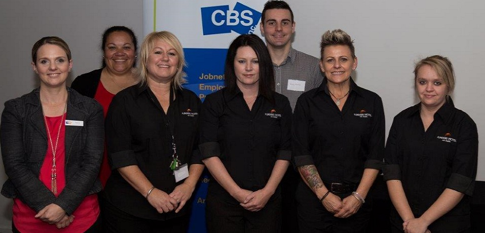 Staff serving at the Port Pirie business breakfast