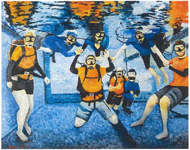 Artwork of multiple divers