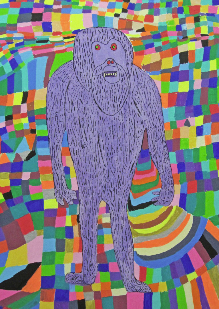 Painting of a purple yeti